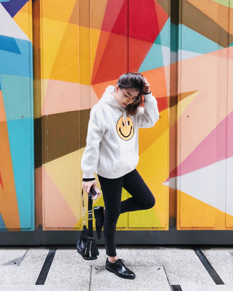 Smiley Face with Lashes Hoodie - White | STYLEITNRY