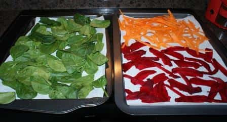 2 cookie trays lined with parchment paper, one with spinach and one with beets and carrots.