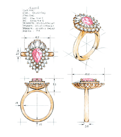 Hand sketch of a custom design ring.