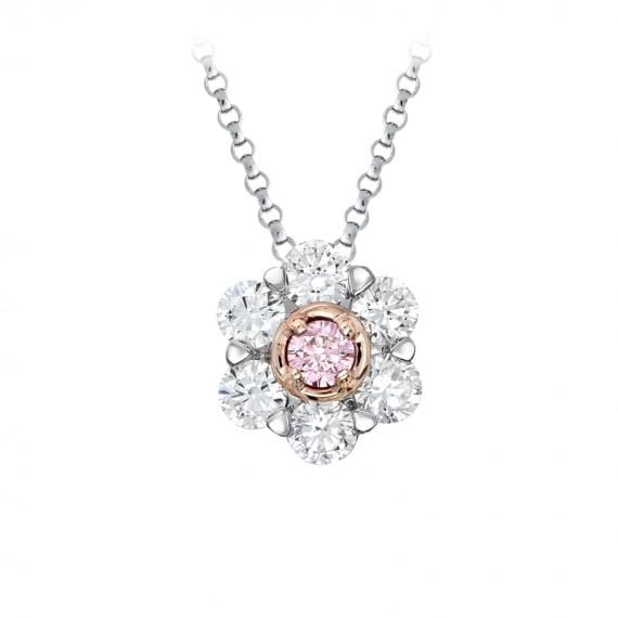 8K White And Rose Gold Kimberly Peony Diamond Set Pendant - Matthews Jewellers