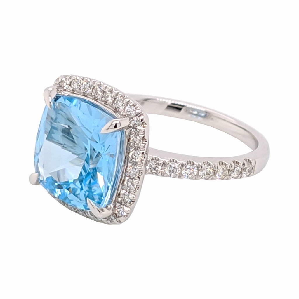 9K White Gold Blue Topaz and 0.37ct Diamond Ring - Matthews Jewellers
