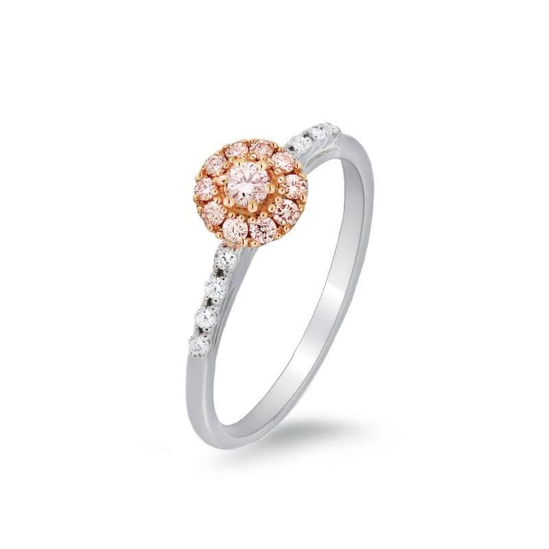 Blush Pink Round Diamond Ring - Pink Centre and Halo - Matthews Jewellers