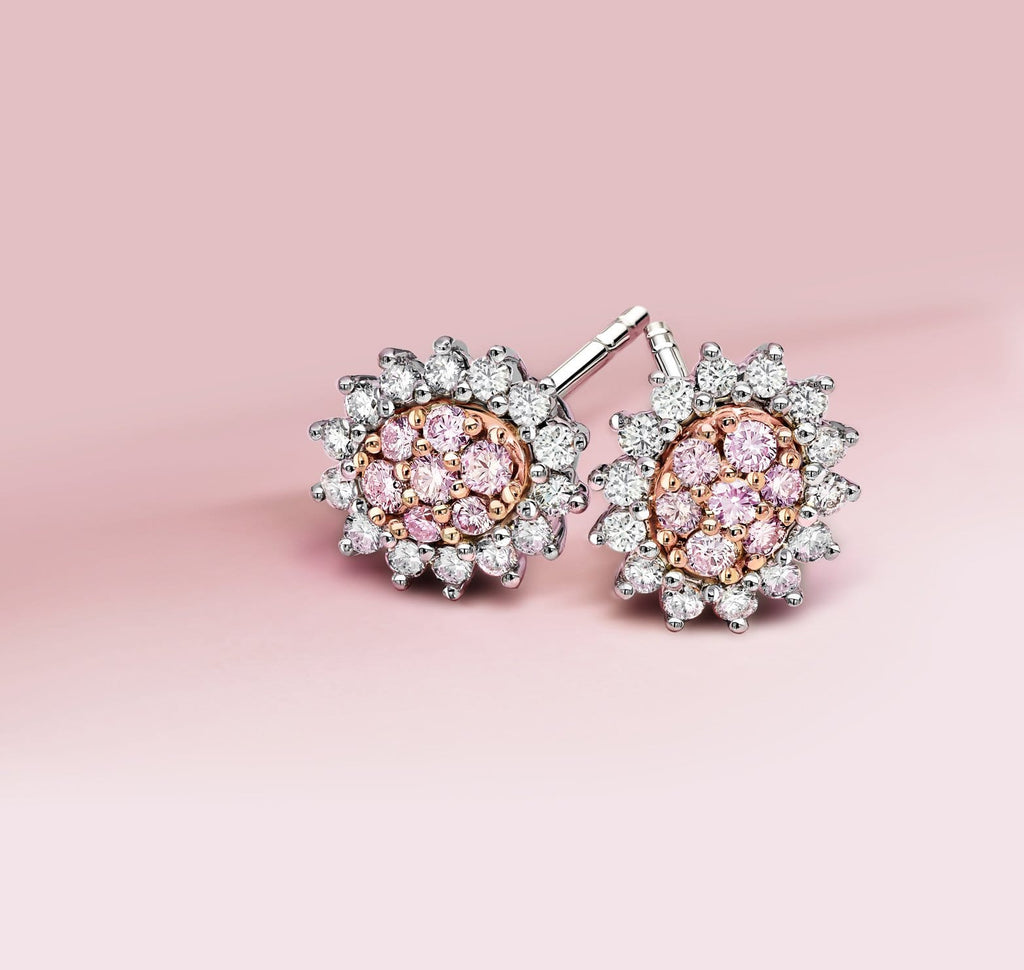 "Blush Pink ""Odette"" Argyle Diamond Earrings - Matthews Jewellers"