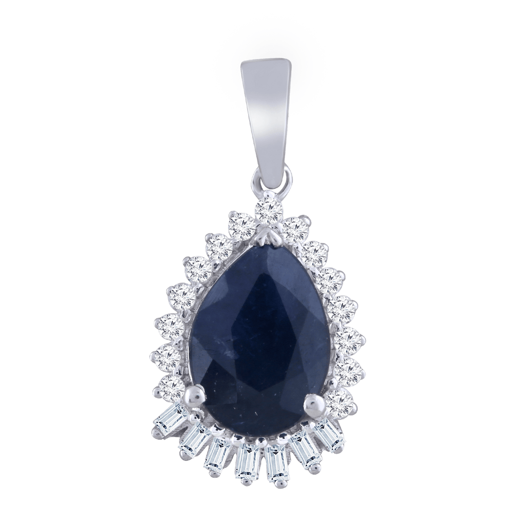 9kt White Gold Diamond and Sapphire Pendant - Matthews Jewellers