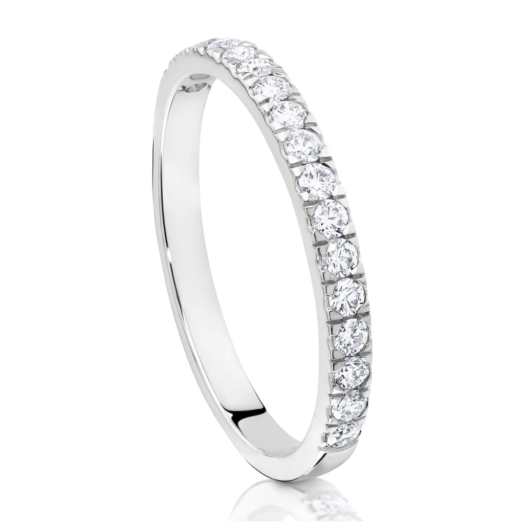 18ct White Gold Claw Set Diamond Wedding Ring - Matthews Jewellers