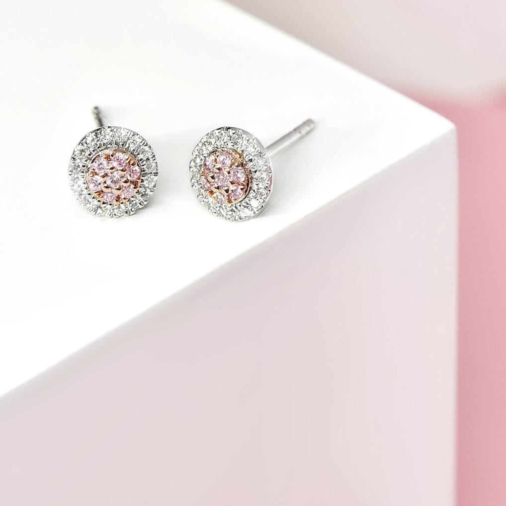 "Blush Pink ""Eloise"" Argyle Diamond Earrings - Matthews Jewellers"