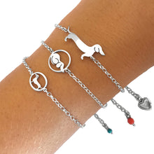 Load image into Gallery viewer, Dachshund Bracelet - Silver |Dog Circle - WeeShopyDog