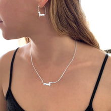 Load image into Gallery viewer, Dachshund Necklace and Hoop Earrings SET - Silver/14K Gold-Plated |Line - WeeShopyDog