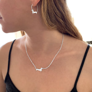 Dachshund Necklace and Hoop Earrings SET - Silver/14K Gold-Plated |Line - WeeShopyDog