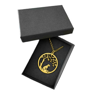 Beagle Little Tree Of Life Pendant Necklace - Silver/14K Gold-Plated - WeeShopyDog