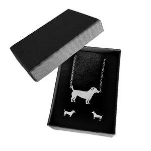 Jack Russell Necklace and Stud Earrings SET - Silver - WeeShopyDog