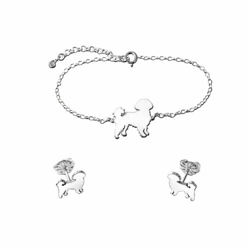 Shih Tzu Bracelet and Stud Earrings SET - Silver - WeeShopyDog