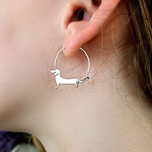 Dachshund Hoop Earrings - Silver/14K Gold-Plated |Line - WeeShopyDog