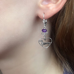 Dachshund Dangle Earrings - Silver and Amethyst/Turquoise |Line Heart - WeeShopyDog