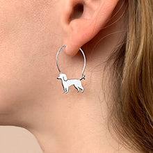 Load image into Gallery viewer, Poodle Hoop Earrings - Silver/14K Gold-Plated |Line - WeeShopyDog