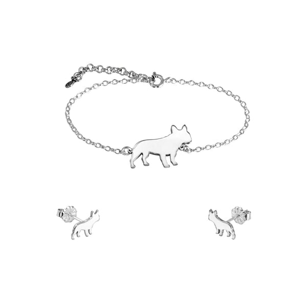French Bulldog Bracelet and Stud Earrings SET - Silver/14K Gold-Plated |Line