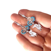 Dachshund - Silver Turquoise Dangle Leverback Earrings - WeeShopyDog