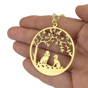 Poodle Tree Of Life Pendant Necklace - Silver/14K Gold-Plated - WeeShopyDog