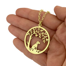 Load image into Gallery viewer, Beagle Little Tree Of Life Pendant Necklace - Silver/14K Gold-Plated - WeeShopyDog