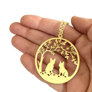 French Bulldog Tree Of Life Pendant Necklace - Silver/14K Gold-Plated - WeeShopyDog