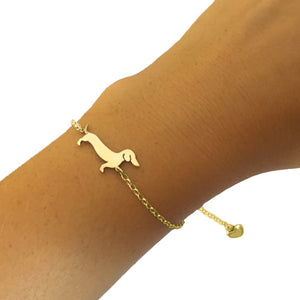 Dachshund Bracelet and Stud Earrings SET - Silver/14K Gold-Plated |Line - WeeShopyDog