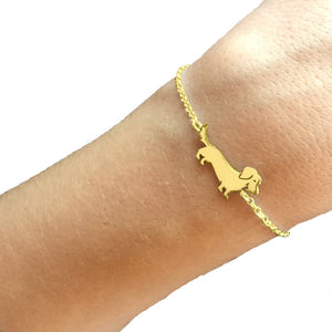 Dachshund Wire Haired Bracelet - Silver/14K Gold-Plated - WeeShopyDog