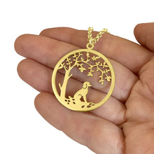 Load image into Gallery viewer, Poodle Little Tree Of Life Pendant Necklace - Silver/14K Gold-Plated - WeeShopyDog