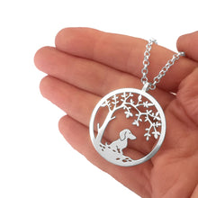 Load image into Gallery viewer, Dachshund Little Tree Of Life Pendant Necklace - Silver/14K Gold-Plated - WeeShopyDog