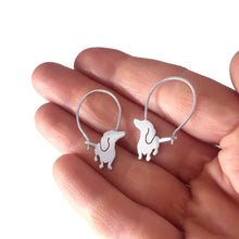 Dachshund - Handmade Silver Hoop Earrings - WeeShopyDog