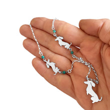 Load image into Gallery viewer, Dachshund Pendant Necklace- Silver Turquoise | Sit-up - WeeShopyDog
