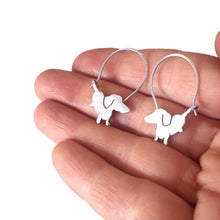 Load image into Gallery viewer, Dachshund Hoop Earrings - Silver |Up - WeeShopyDog