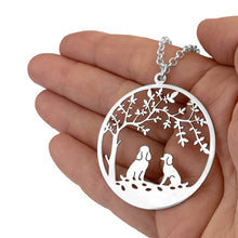 Load image into Gallery viewer, Poodle Tree Of Life Pendant Necklace - Silver/14K Gold-Plated - WeeShopyDog