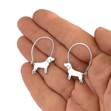 Load image into Gallery viewer, Beagle Hoop Earrings - Silver/14K Gold-Plated |Line - WeeShopyDog
