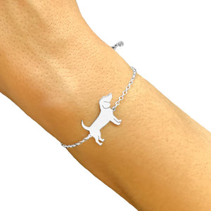 Beagle Bracelet and Stud Earrings SET - Silver/14K Gold-Plated |Line - WeeShopyDog