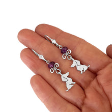 Load image into Gallery viewer, Dachshund Dangle Leverback Earrings - Silver Amethyst |Sweet - WeeShopyDog