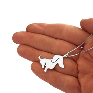 Dachshund Necklace and Dangle Earrings SET - Silver |Sweet - WeeShopyDog
