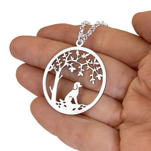 Poodle Little Tree Of Life Pendant Necklace - Silver/14K Gold-Plated - WeeShopyDog