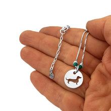 Load image into Gallery viewer, Dachshund Pendant Necklace - Silver Turquoise |Line Circle - WeeShopyDog