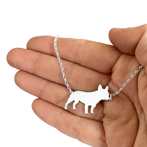 French Bulldog Necklace and Stud Earrings SET - Silver/14K Gold-Plated |Line - WeeShopyDog