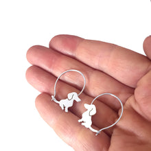 Load image into Gallery viewer, Dachshund Hoop Earrings - Silver |Sweet - WeeShopyDog