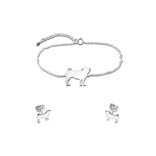 Pug Bracelet and Stud Earrings SET - Silver - WeeShopyDog