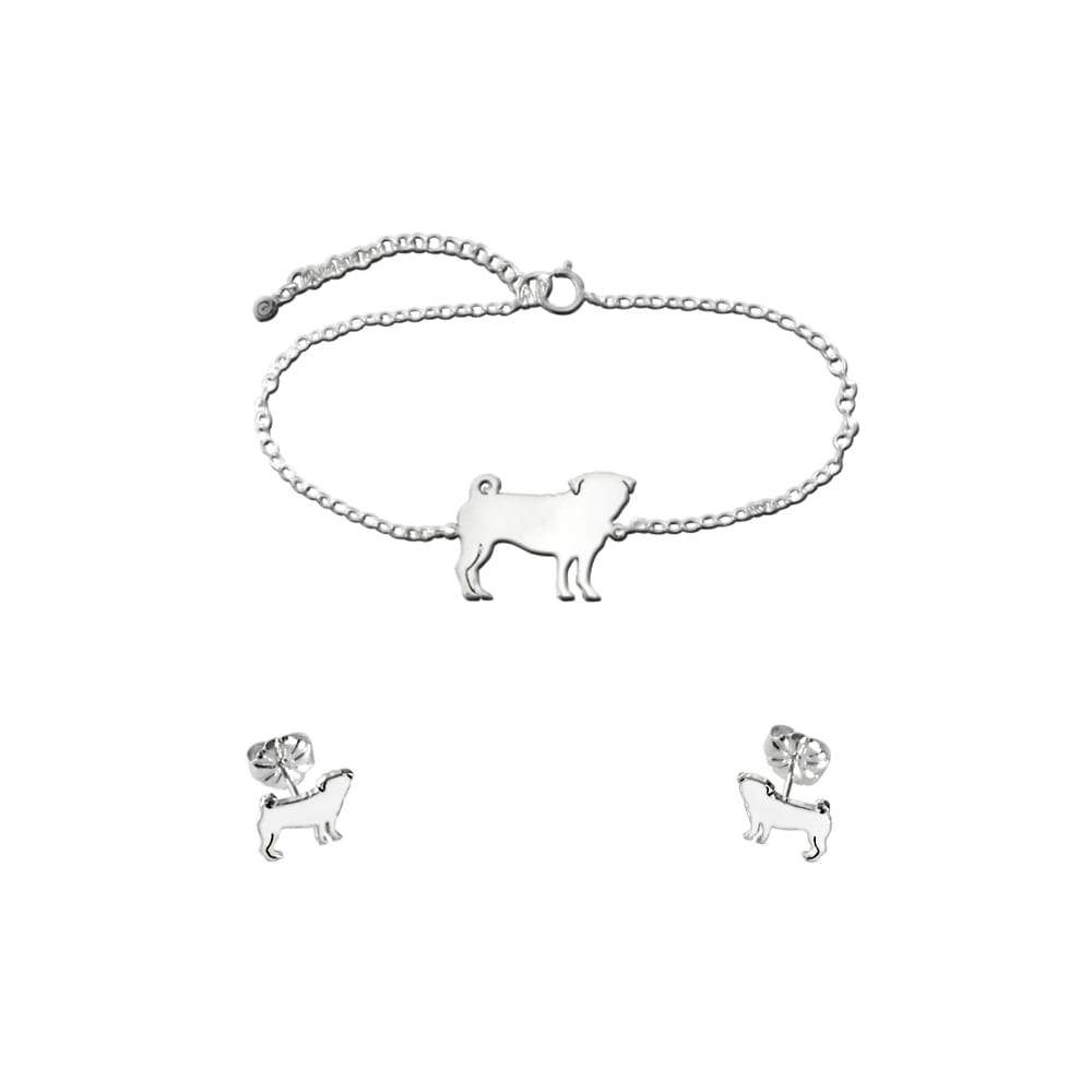 Pug Bracelet and Stud Earrings SET - Silver/14K Gold-Plated |Line - WeeShopyDog