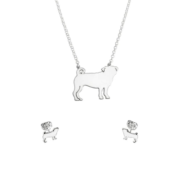 Pug Necklace and Stud Earrings SET - Silver - WeeShopyDog