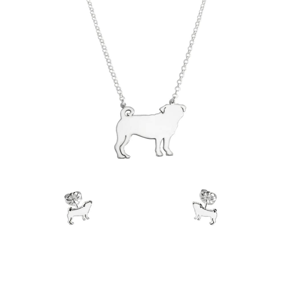 Pug Necklace and Stud Earrings SET - Silver/14K Gold-Plated |Line - WeeShopyDog