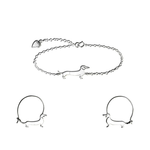 Dachshund Bracelet and Hoop Earrings SET - Silver/14K Gold-Plated |Line - WeeShopyDog