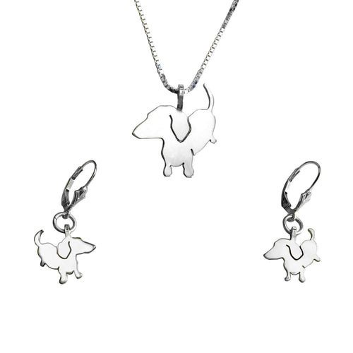 Dachshund Necklace and Dangle Earrings SET - Silver |Up - WeeShopyDog