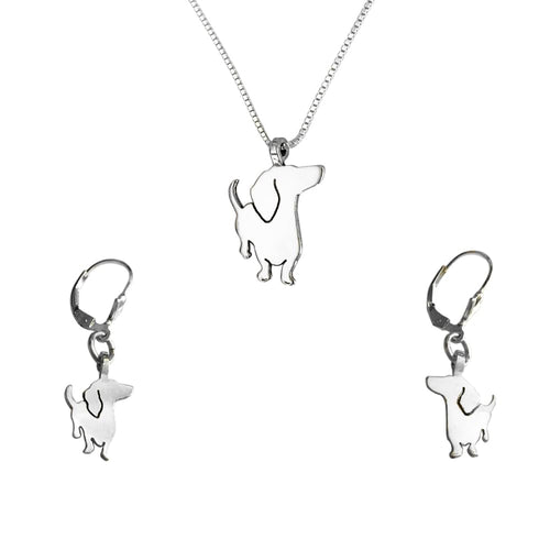 Dachshund Necklace and Dangle Earrings SET - Silver |I - WeeShopyDog