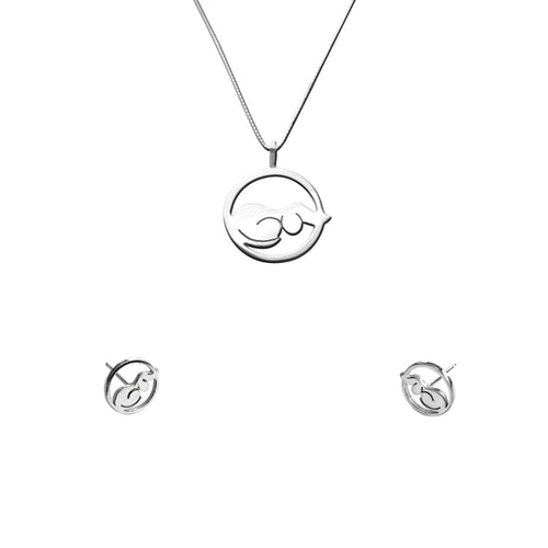 Dachshund Necklace and Stud Earrings SET - Silver |Dog Circle - WeeShopyDog