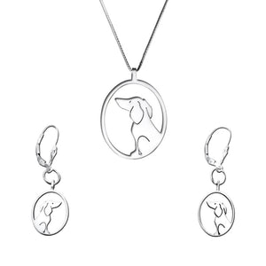 Dachshund Necklace and Dangle Earrings SET - Silver |Image - WeeShopyDog
