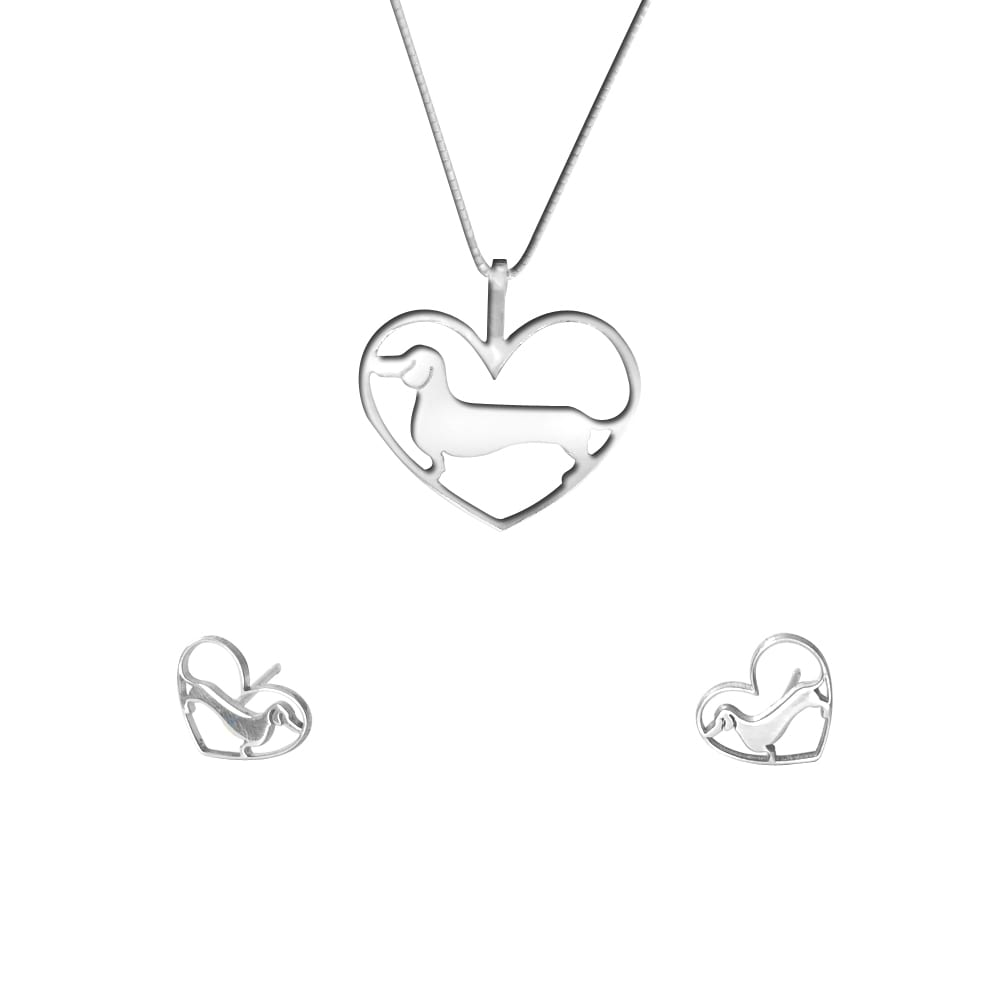 Dachshund Necklace and Stud Earrings SET - Silver/14K Gold-Plated |Line Heart - WeeShopyDog